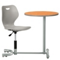 Angled Poly Student Chair Desk with Round Work Surface, 13978