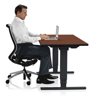"Adjustable Height Sit Stand Desk - 24""W x 72""D , 41653"