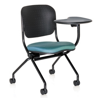 Fabric Seat Nesting Chair with Left Tablet Arm, 51494