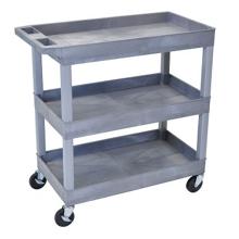 Gray Three Shelf High Capacity Tub Cart, 36507