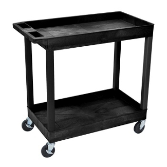 Black Two Shelf High Capacity Tub Cart, 36508