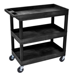 Black Three Shelf High Capacity Tub Cart, 36509