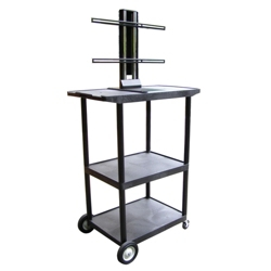 "Three Shelf Flat Panel TV Cart with Reinforced Shelf - 54"" H, 43205"