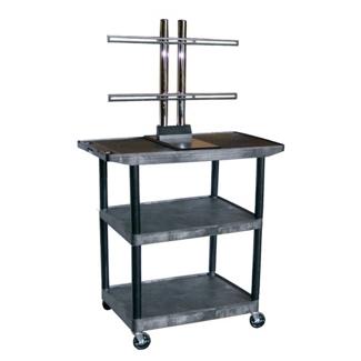 "Three Shelf Flat Panel TV Cart with Reinforced Shelf - 40"" H, 43207"