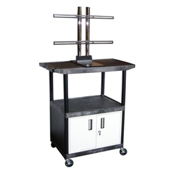 "Flat Panel TV Cart with Reinforced Shelf and Locking Cabinet - 48"" H, 43211"