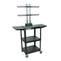 Adjustable Height Steel TV Cart with Drop Leaf Shelves, 43213