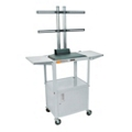 Adjustable Height Steel TV Cart with Drop Leaf Shelves and Cabinet, 43214