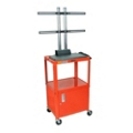 Adjustable Height Steel TV Cart with Cabinet, 43215