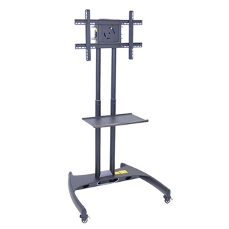Adjustable Height Mobile Flat Panel TV Stand with Shelf, 43242