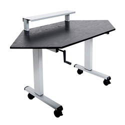 """Crank-Operated Height Adjustable Corner Desk with Riser - 58.75""""W, 14818"""