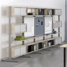 Storage Wall with Two Whiteboards and Tackboard, 36247