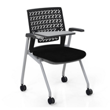 Flexible Back Tablet Arm Nesting Chair with Fabric Seat, 51555