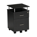 Two Drawer Glass Top Mobile File Pedestal, 60085