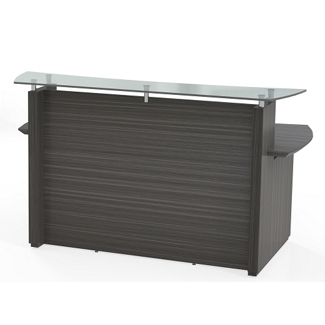 "Reception Desk with Glass Counter and Pedestal - 72""W, 76409"