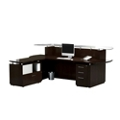 "Single Pedestal Reception L-Desk with Glass Counter - 96""W, 76413"