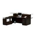 "Single Pedestal Reception L-Desk with Glass Counter - 96""W, 76413"