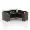 "Double Pedestal Reception L-Desk with Three File Drawers - 87.25""W, 76414"