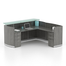 "Double Pedestal Reception L-Desk with Two File Drawers - 87.25""W, 76415"