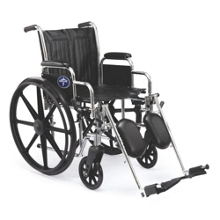 """Chrome-Framed Wheelchair with Elevating Foot Rests - 18""""W Seat, 25915"""