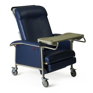 Extra Wide Mobile Patient Recliner with Adjustable Headrest and Tray, 26082