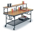 "Standing Height Mobile Folding Buffet Table with Riser - 96""W x 30""D, 40010"