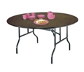 "Round Plywood Folding Table with Wishbone Legs - 72"" Dia, 41082"