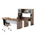 "Curved Left U-Desk with Hutch - 108""W, 14468"