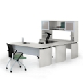 "Curved Left U-Desk with Hutch - 108""W, 14471"