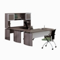 "Curved Right Executive U-Desk with Hutch - 108""W, 14423"