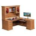 "Wheat Oak L-Desk with Right Return and Hutch - 69""W, 10165"
