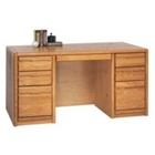 "Medium Oak 60""W Executive Desk, 10527"