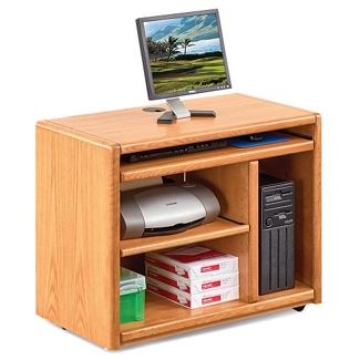 "Medium Oak Mobile Computer Cart - 37.5""W, 10909"