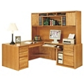 "Medium Oak L-Desk with Right Return and Hutch - 68.25""W, 13367"