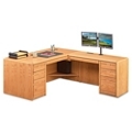 "Medium Oak L-Desk with Right Return - 68""W, 14366"