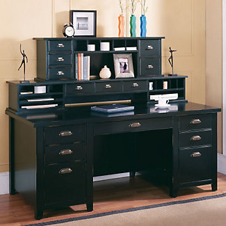 black writing desk with two hutches 15541 and more office desks