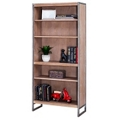 "Wire Brushed Five Shelf Bookcase with Steel Frame - 30""W x 66""H, 32983"
