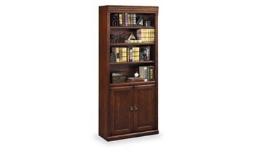 "Burnished Oak 72"" Doored Bookcase, 32724"