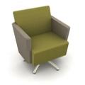 Modern Two Tone Fabric Swivel Club Chair, 25804
