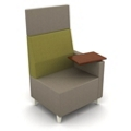 Modern High Back Two Tone Fabric Chair with Tablet Arm, 25811
