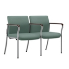 Easy-Clean Fabric Tandem Guest Chair with Wall Saver Legs, 25872