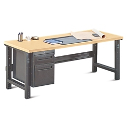 """Annex Industrial Adjustable Height Executive Desk with Pedestal - 72""""W , 14327"""