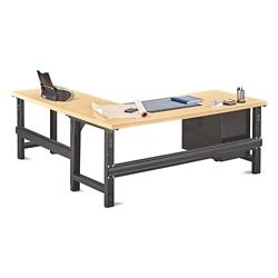 "Annex Industrial Adjustable Height L-Desk with Pedestal - 72""W , 14329"