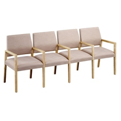 Polyurethane or Fabric/Polyurethane Four Seat Sofa with Center Arms, 76312