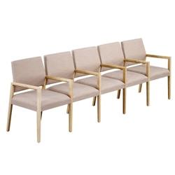Polyurethane or Fabric/Polyurethane Five Seat Sofa with Center Arms, 76313