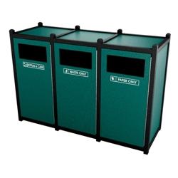 Triple Sideload Waste Bin with 32 Gallon Capacity., 85454
