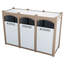Triple Sideload Bead Board Waste Bin 32 Gallon Capacity, 85542