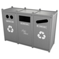 Triple Sideload Bead Board Waste Bin 26 Gallon Capacity, 85557