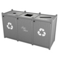 Triple Topload Bead Board Waste Bin with 45 Gallon Capacity, 85572