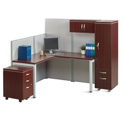 Reveal Instant Office L-Desk Station with Wardrobe, 14058