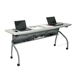 """Plastic Flip Top Training Table with Modesty Panel - 70""""W x 19.5""""D, 41800"""